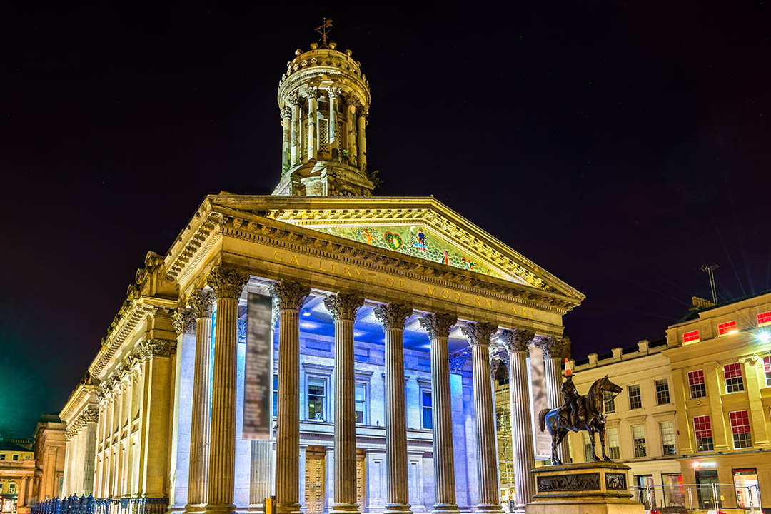 Glasgow's Modern Art Gallery lit up at night