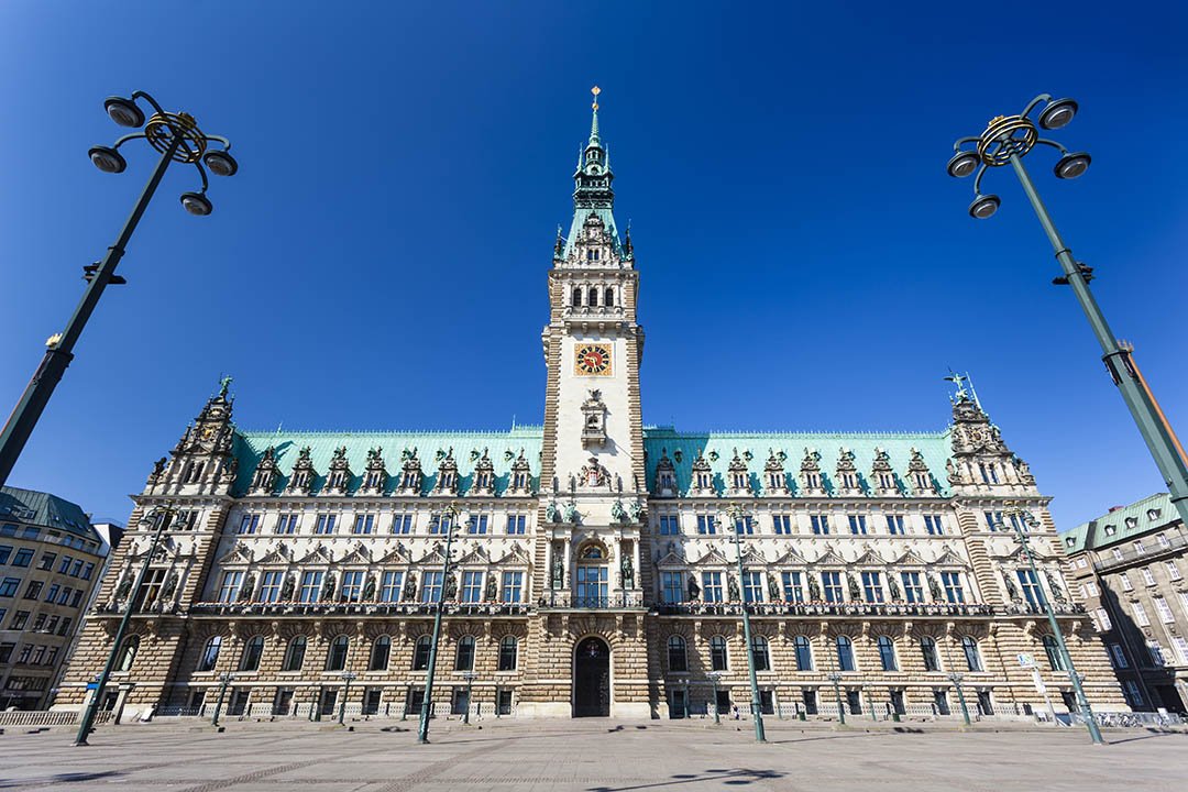 Front view of the famous town hall in Hamburg, Germany