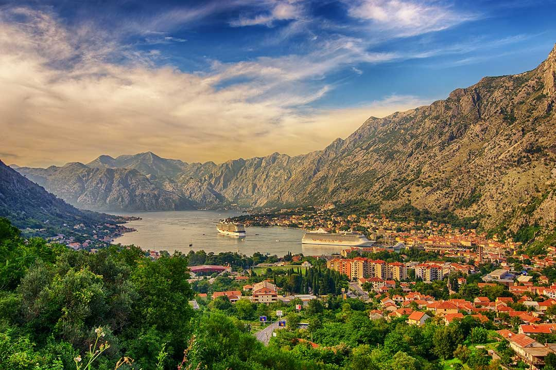 Landscape view of tall majestic mountains overlooking the Montenegro valley