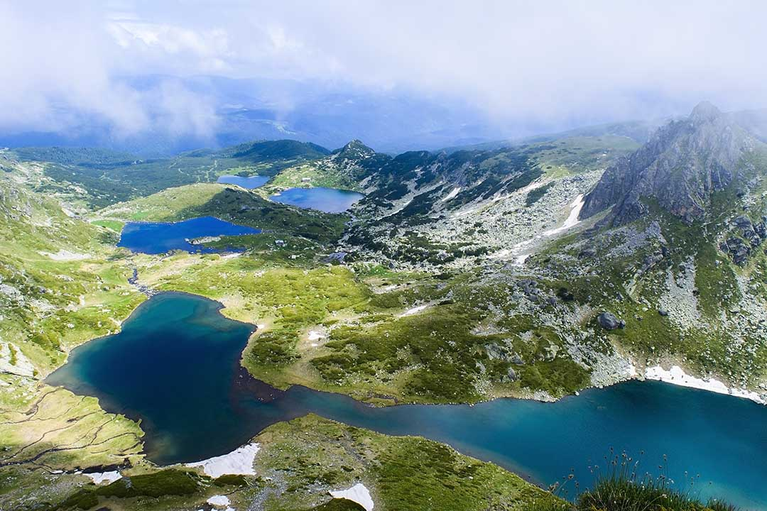 Beautiful view of the Seven Rila Lakes. The Seven Rila Lakes are a group of lakes of glacial origin, situated in the northwestern Rila Mountains in Bulgaria. They are the most visited group of lakes in Bulgaria.