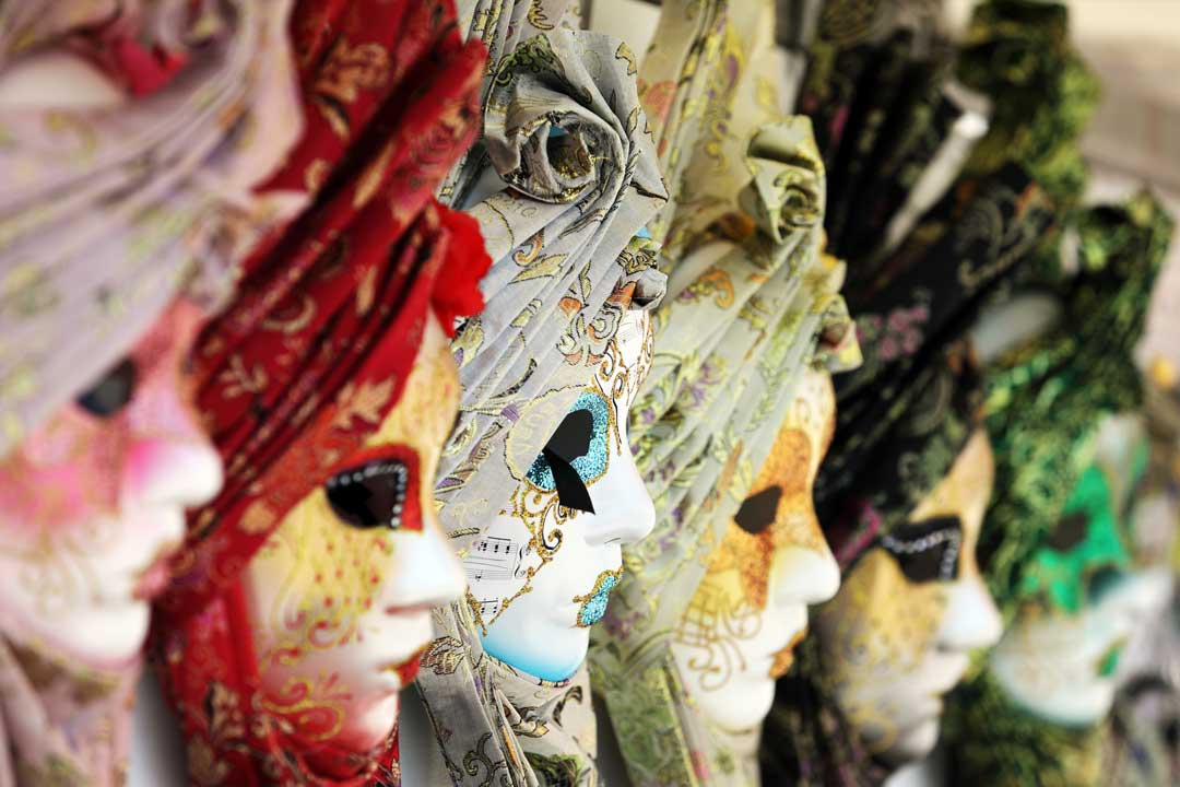 Beautifully decorated Venetian masks