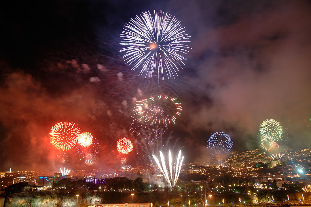 A bright firework display against a dark night