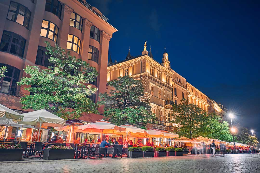 Cafes and restaurants at night in Krakow