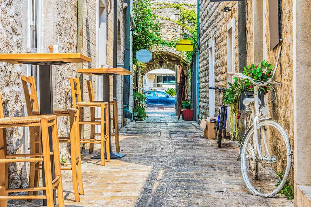 Narrow cobbled streets of the historic town of Budva
