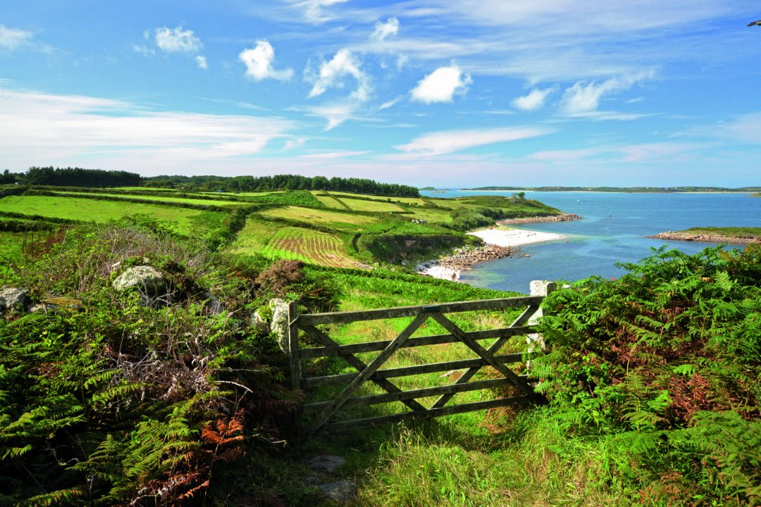 A gateway leading to green fields and clear blue waters