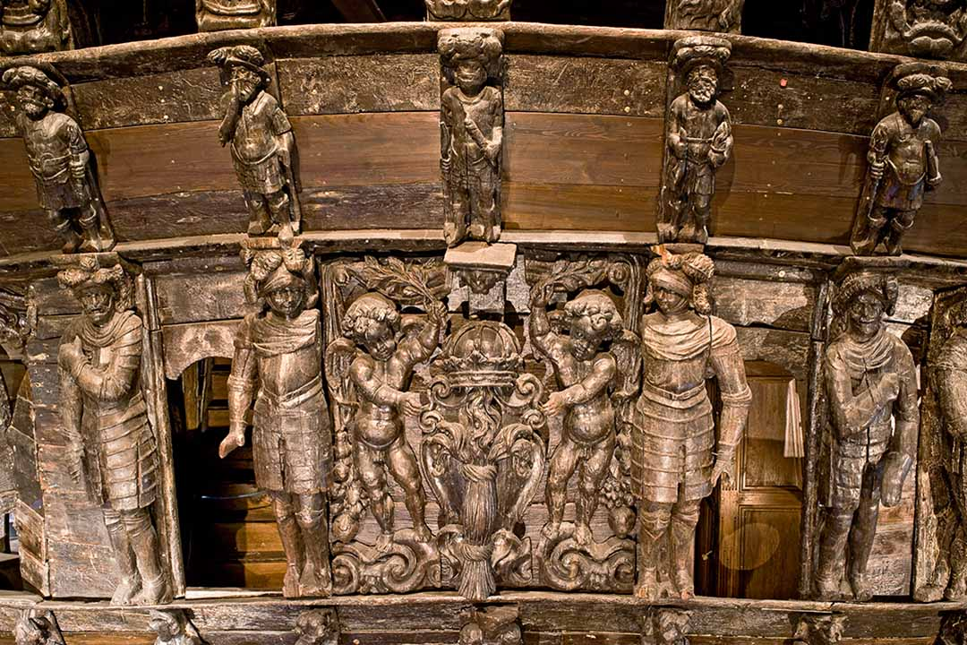 Intricate decoration on the Vasa warship.