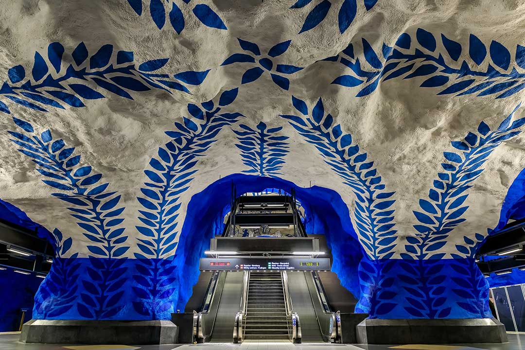 One of Stockholm metro's art displays. Intricate paintings of blue flora climb the white walls and ceilings of a Stockholm metro station.