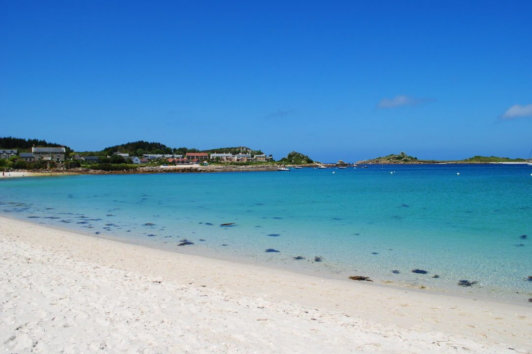 White Sand Of Tresco Island leading to clear blue waters