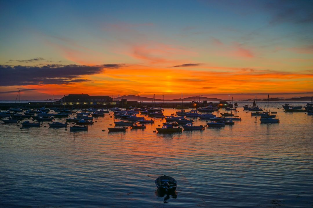 Sunset on the harbour of St Mary's island in the Isles of Scilly