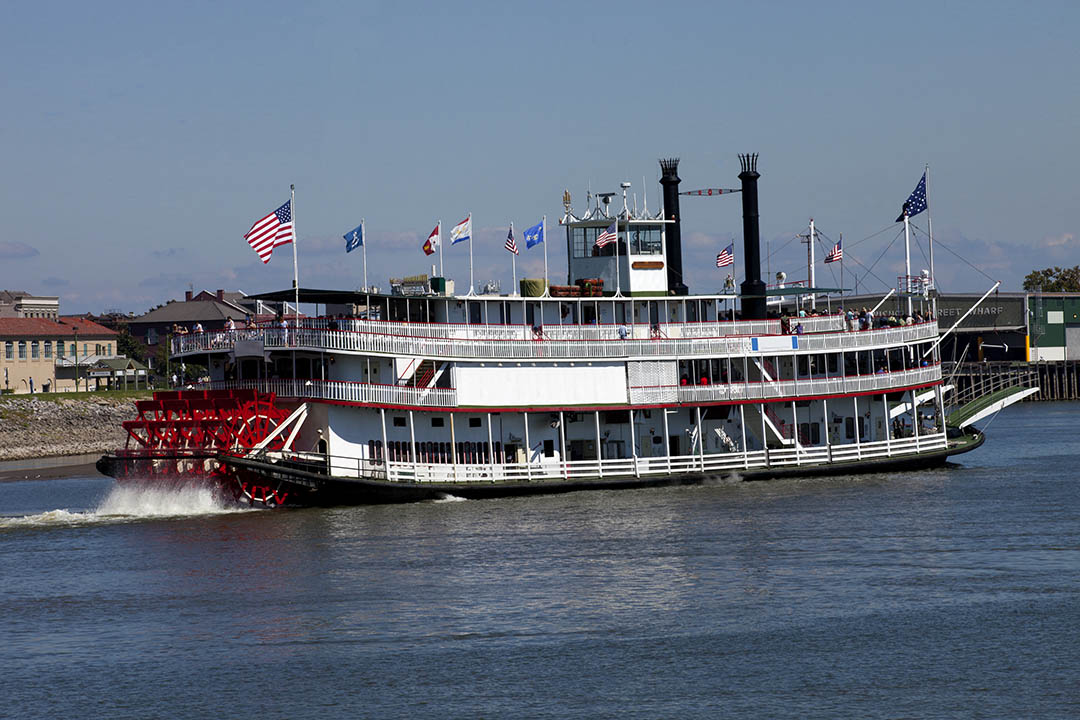 A paddlewheel riverboat on the Mississippi River in New Orleans, Louisiana.