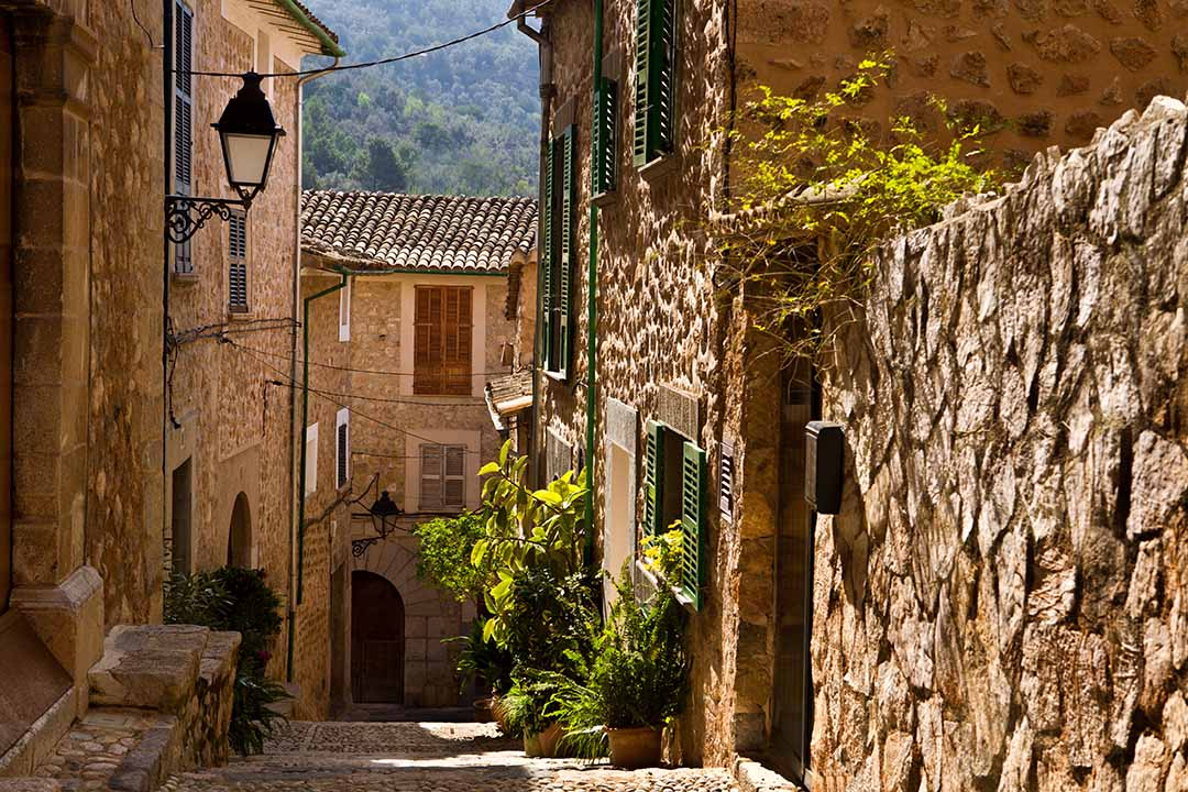A narrow street in a quaint mountain village, the cobbled street is surrounded by stone houses and fauna